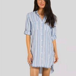Anthro Cloth & Stone Blue White Striped Frayed Hem